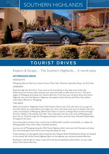 tourist drives - Southern Highlands