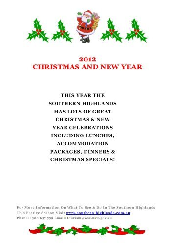 2012 CHRISTMAS AND NEW YEAR - Southern Highlands