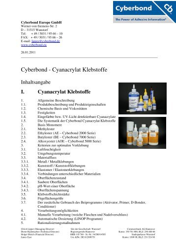 Cyberbond - Cyanacrylat Klebstoffe - cyberbond.de