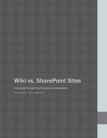 Wiki vs. SharePoint Sites