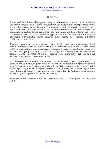 GUIDA PER L'INSEGNANTE - Attività video Progetto ... - Edilingua