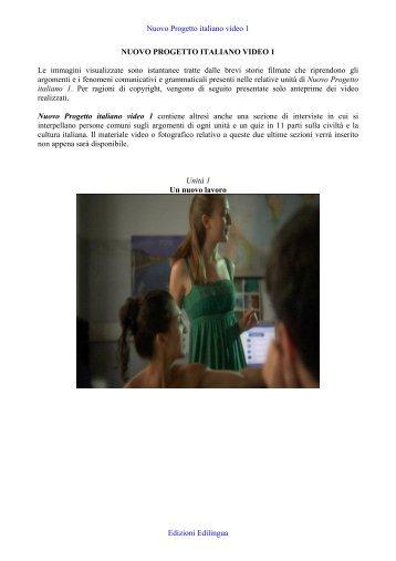 Nuovo Progetto italiano video 1 Edizioni Edilingua NUOVO ...