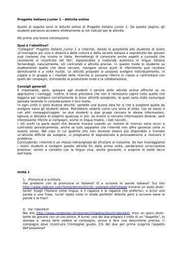 Nuovo Progetto italiano 1 - Attivit online - Edilingua