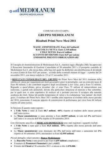 GRUPPO MEDIOLANUM Risultati Primi Nove Mesi 2011 - Euroborsa