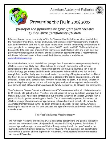 Influenza Resources for Child Care Providers - Southern Early ...