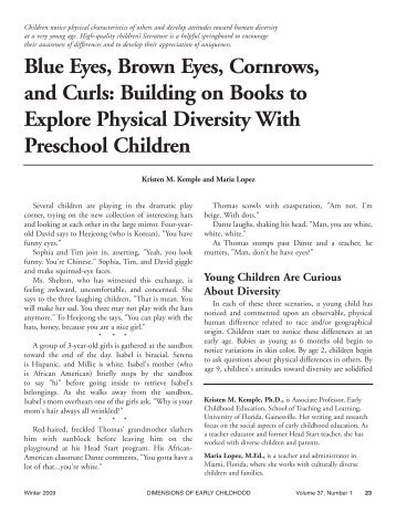 their awareness of differences and to develop their - Southern Early ...