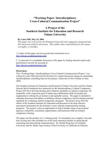 PDF - Working Paper: Interdisciplinary Cultural Competency Project