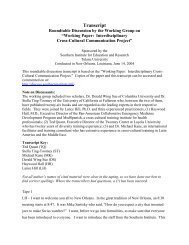 Working Paper: Interdisciplinary Cultural Competency Project