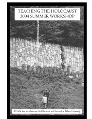 teaching the holocaust 2004 summer workshop - Southern Institute ...