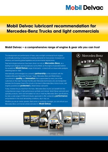 Mobil Delvac lubricant recommendation for ... - Mobil™ in UK