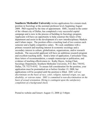 Southern Methodist University invites applications for a tenure-track ...