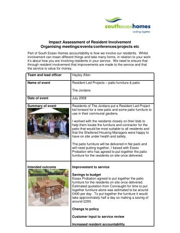 Impact Assessment of Resident Involvement Organising meetings ...