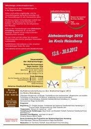 Alzheimertage 2012 im Kreis Heinsberg