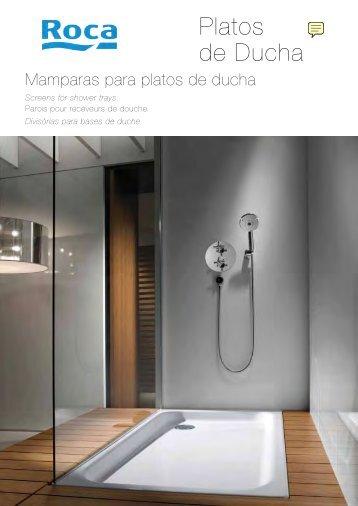 Platos de ducha y mamparas de ducha, catálogo Roca. - Venespa