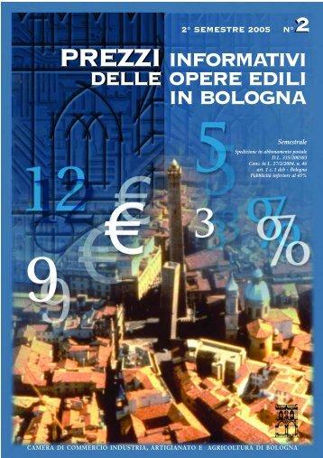 Prezzario II semestre 2005 - Camera di Commercio di Bologna