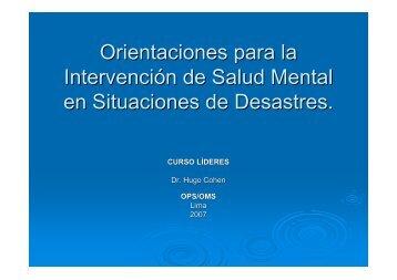 Orientaciones Intervención Salud Mental en Desastres