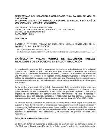 IV. Viejas Formas De Exclusión - DISASTER info DESASTRES