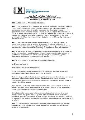 Propiedad Intelectual Ley 11.723 - edUTecNe - Universidad ...