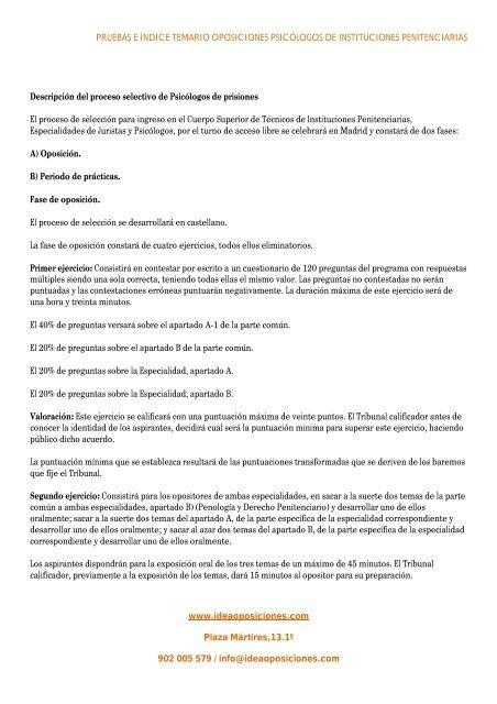 Pruebas E índice Temario Oposiciones Psicólogos De Emagister