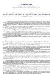 projet de DECLARATION DES DEVOIRS DES ... - Le Carré Bleu