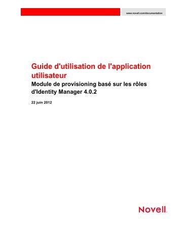 Guide d'utilisation de l'application utilisateur - NetIQ