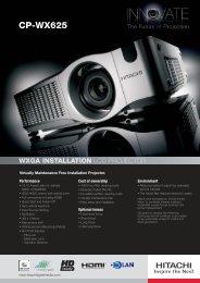 CP-WX625 Datasheet - Hitachi Digital Media