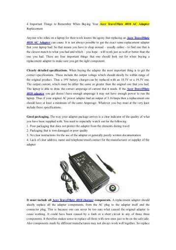 4 Important Things to Remember When Buying Your Acer TravelMate 4010 AC Adapter Replacement.pdf