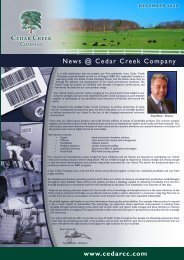 News @ Cedar Creek Company