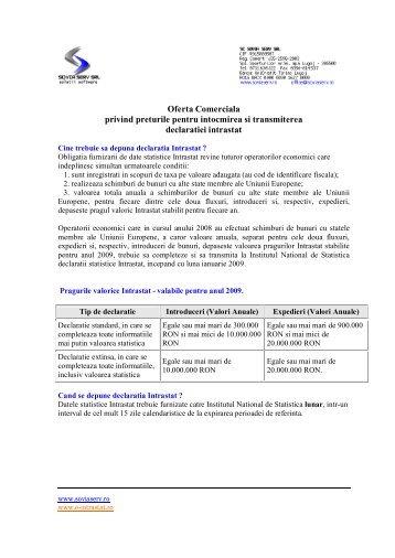 Oferta Comerciala privind preturile pentru intocmirea si transmiterea ...