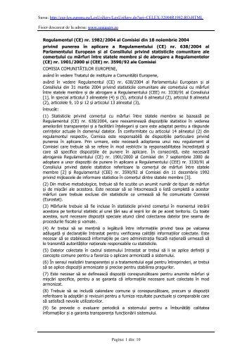 (CE) nr. 1982/2004 al Comisiei din 18 noiembrie 2004