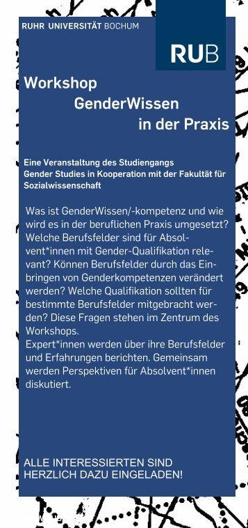 Workshop GenderWissen in der Praxis - Fakultät für ...