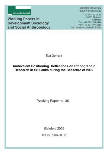 Working Papers in Development Sociology and Social Anthropology