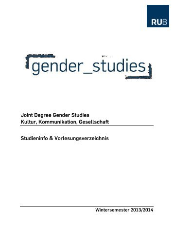 Joint Degree Gender Studies Kultur, Kommunikation, Gesellschaft ...