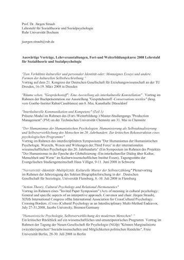 Prof. Dr. Jürgen Straub Lehrstuhl für Sozialtheorie und ...