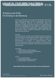 Praktikum bei IFOK– Ihr Einstieg in die Beratung - Sowi