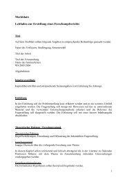 Merkblatt: Leitfaden zur Erstellung eines Forschungsberichts