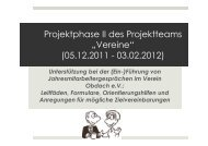 "Projektphase II des Projektteams ""Vereine"" (05.12.2011 - 03.02.2012)"