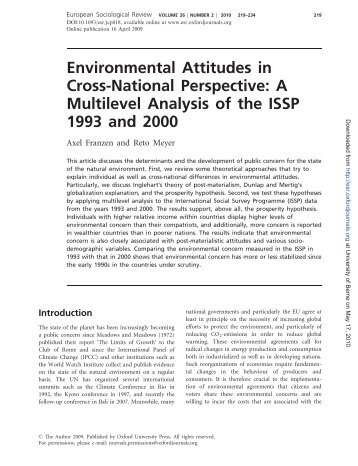 Environmental Attitudes in Cross-National Perspective: A Multilevel ...