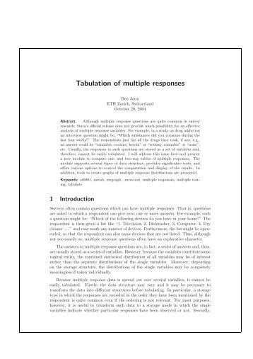 Tabulation of multiple responses - Institut für Soziologie