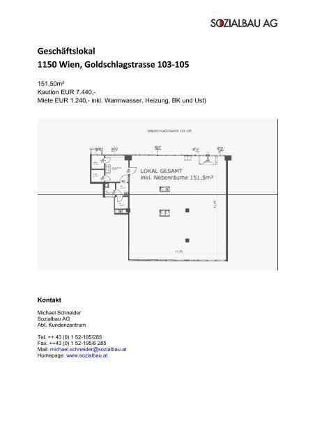 Geschãftslokal 1150 Wien Goldschlagstrasse 103 105 Sozialbau
