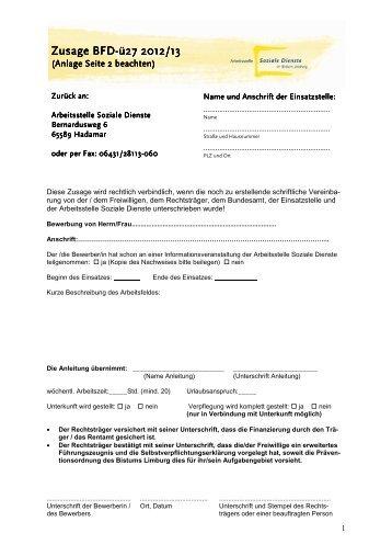 formular zusage bfd 27 fachstelle freiwilligendienste im - Bewerbung Bfd