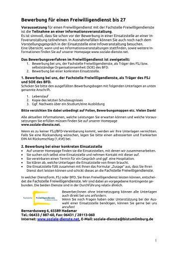 bewerbungsbogen fsj bfd homepage - Fsj Kultur Bewerbung