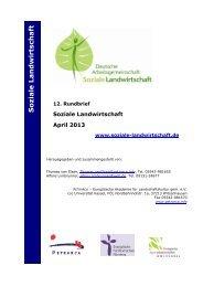 Rundbrief April 2013 - Soziale Landwirtschaft