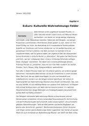 Exkurs: Kulturelle Wahrnehmungs-Felder - Zentrum für soziale und ...