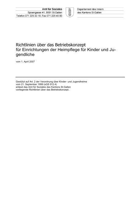 Richtlinien Betriebskonzept - Amt für Soziales