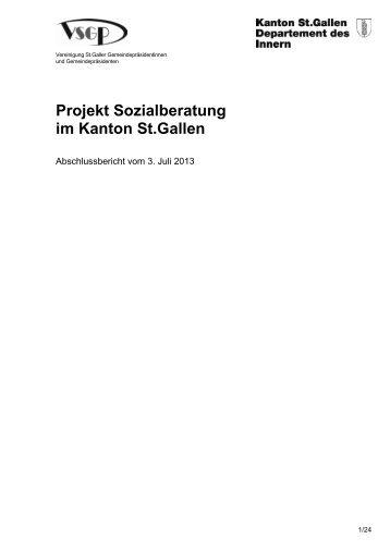 Abschlussbericht Projekt Sozialberatung - Amt für Soziales - Kanton ...