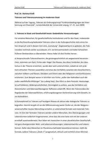 Toleranz und Toleranzzumutung im modernen Staat - Universität Bonn