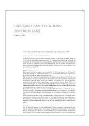 DAS ARBEITSINTEGRATIONS- ZENTRUM (AIZ) - Sozialhilfe