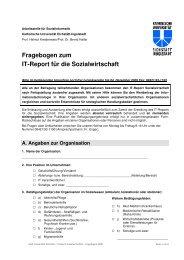 Fragebogen zum IT-Report für die Sozialwirtschaft - Sozialinformatik