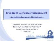 Grundzüge Betriebsverfassungsrecht - Sozialpsychologie